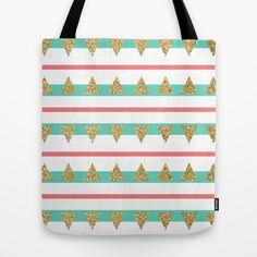 Mint Coral Gold Glitter Triangle Stripes Tote Bag