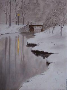 """Купить Картина маслом """"Зимний пруд"""" - черно-белый, пейзаж маслом, пейзаж с водой"""