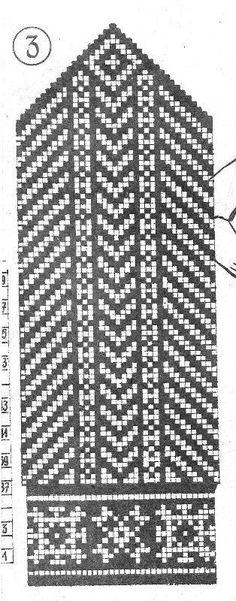 chart for latvian-type mittens Tapestry Crochet Patterns, Fair Isle Knitting Patterns, Knitting Charts, Knitting Stitches, Knitted Mittens Pattern, Knitted Gloves, Knitting Socks, Knit Basket, Lace