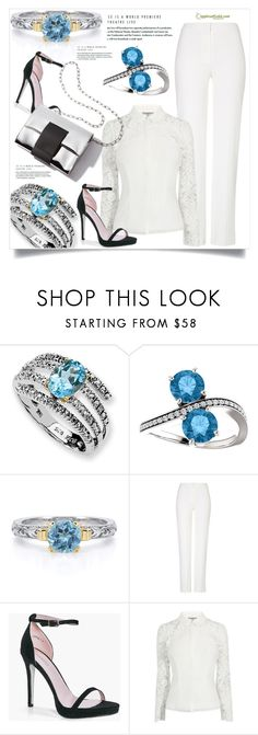 """Blue Topaz and Diamond Two Stone Ring in 14K White Gold"" by amra-mak ❤ liked on Polyvore featuring ESCADA, Boohoo and applesofgold"