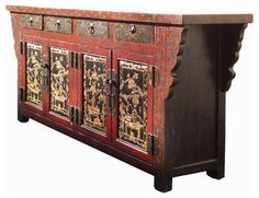 Red Gold Flower Vase Paint Buffet Table TV Stand Chinese Antique Cabinet
