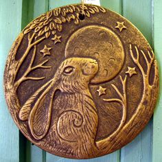 HARE MOON GAZING PLAQUE Sign Wall Hanging PAGAN CELTIC Green Man WICCAN 20cm in Home, Furniture & DIY, Home Decor, Plaques & Signs | eBay