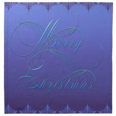 Blue Merry Christmas Cloth Napkins