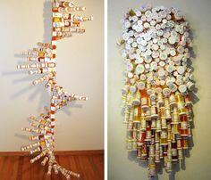 "Pill bottle sculptures (left - ""Corporate DNA"" by Ron Jones; right - ""Borrowed Time Years of Pill Poppin')"" by Rocky Stroup) Reuse Pill Bottles, Pill Bottle Crafts, Recycled Bottles, Recycled Crafts, Diy Crafts, Prescription Bottles, Nurse Art, Bottle Art, Art Projects"