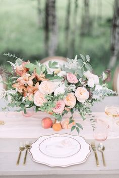 DIY Wedding Centerpieces: Tips and How-To - Put the Ring on It Spring Wedding, Boho Wedding, Floral Wedding, Wedding Colors, Rustic Wedding, Wedding Flowers, Peach Wedding Theme, Boho Flowers, Wedding Pics