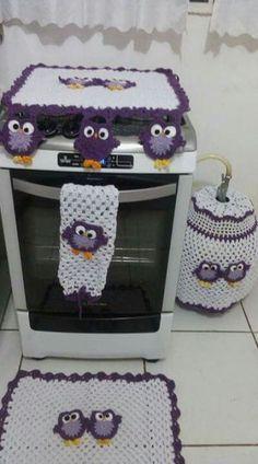 kit cozinha de crochê