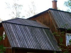 Roofing of tarred planks. Seurasaari open air museum, Helsinki.