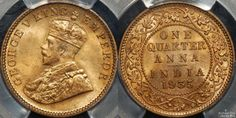 Indian 1935C (Calcutta) Quarter Anna in PCGS MS65RB. #coins #indiancoins