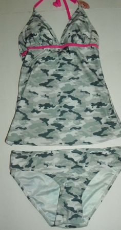 6ecee7affb9 Bobbie Brooks Ladies 2 Piece Tankini Bikini Swimsuit Size S Gray Camouflage  NEW