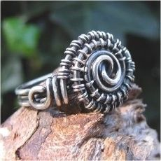 handmade, sterling silver, wire wrapped, ring, jewelry - photo