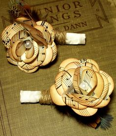 Vintage music paper boutonniere with twine and by PaperDustStudio