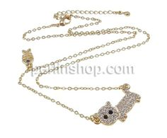 Schmuck Halskette, mit Eisen, Zinklegierung Karabinerverschluss, Hund, goldfarben plattiert, mit Strass, frei von Nickel, Blei