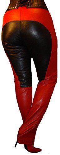Damen Leder Hose echtes Nappa Leder size L W 31 Rot Schwarz Leggings Reiter Style Lederhose