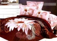 Magnificent Brown 4 Piece Cotton Bedding Sets with White Big Flower