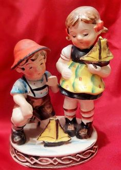 VINTAGE UCAGCO HUMMEL STYLE BOY & GIRL WITH SAILBOATS FIGURINE - OCCUPIED JAPAN | #1758528392