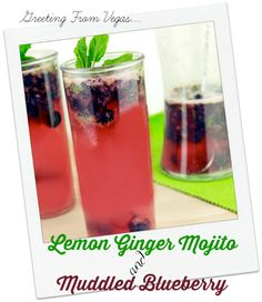 Lemon Ginger Mojito Recipe with Muddled Blueberry | Sassy Girlz Blog Lemon Ginger Mojito with Muddled Blueberry is made with Ginger Beer, Vodka and of course lemons... Cocktail Hour is here! Great party punch! #SweetNLowStars #ad