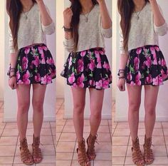 Cute fashion, spring fashion, fashion outfits, fasion, cute outfits with sk Summer Outfit For Teen Girls, Cute Teen Outfits, Outfits For Teens, Casual Outfits, Cute Outfits With Skirts, Hipster Outfits, Casual Shirt, Cute Fashion, Look Fashion