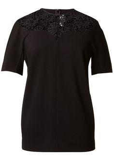 Stella McCartney Tops :: Stella Mc Cartney details lace collar black top | Montaigne Market