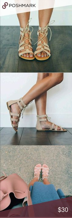 SIZE 6.5 Nude Lace Up Gladiator Sandals ▪️NWB  ▪️Boutique ▪️third picture is modeled picture by me just edited True to size  ❤️Bundles(I'll give you a discount) ❤️Offers  PLEASE feel free to comment and ask questions!! I'll be more than happy to answer  I am a Top Rated Seller, a Fast Shipper, AND a Top 10% Seller! Shoes Sandals