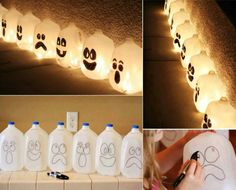 Easy Halloween Lantern From Milk Jug , have fun with your kids. :)  Tutorial with video --> http://wonderfuldiy.com/wonderful-diy-easy-halloween-lantern-from-milk-jug/