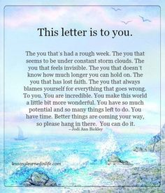 Lessons Learned in Life   The letter to you.