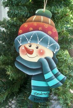 Wooden Hand Painted Snowman Ornament by stephskeepsakes on Etsy Wooden Christmas Ornaments, Painted Ornaments, Snowman Ornaments, Country Christmas, Christmas Snowman, Christmas Time, Christmas Decorations, Painted Snowman, Snowmen
