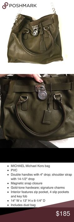 MICHAEL Michael Kors Large Signature Hamilton Tote MICHAEL Michael Kors Large Hamilton Tote. Beautiful hunter green with silver detail. (Picture with detail says gold but this is silver.) One zippered pocket inside. Four other pockets inside. Barely used. Like brand new. MICHAEL Michael Kors Bags Shoulder Bags