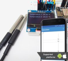 Basic temperature tracing with wired sensors (for air, liquids, ground, etc.) Tutorial - Sensate - Smart 'Do it Yourself' for everyone Water Tank, The Help, Monitor, Wifi, Smartphone, Android, Diy Projects, Display, Hot