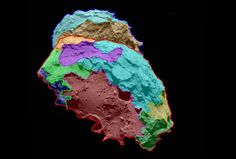 First Map Of Rosetta's Comet - Scientists have found that the surface of comet 67P/Churyumov-Gerasimenko — the target of study for the European Space Agency's Rosetta mission — can be divided into several regions, each characterized by different classes of features. High-resolution images of the comet reveal a unique, multifaceted world. Image credit: ESA/Rosetta/MPS for OSIRIS Team/MPS/UPD/LAM/IAA/SSO/INTA/UPM/DASP/IDA | via redOrbit.com