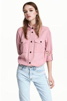Рубашка из лиоцелла - Розовый - Женщины   H&M RU