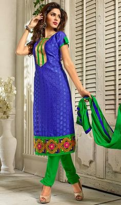 Revel in a feeling of stardom dressed in this blue color embroidered cotton churidar dress. The lovely lace and resham work a substantial feature of this attire. #womenclothes #womencasualdress #embroidereddresses