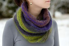 This easy cowl is a beautiful winter accessory. Play with colors: choose a solid or self striping yarn or use yarn scraps for striping!