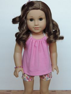 Pink Floral Outfit American Girl Doll by HerDollEssentials