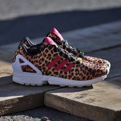 Leopard Adidas. ZX Flux. Super cute. Worn a handle full of times. Sold out everywhere. Adidas Shoes