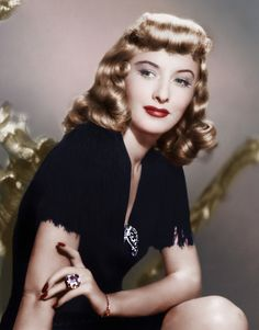 A beautiful colour photo of actress Barbara Stanwyck. 1940's.