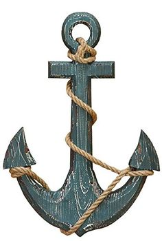 Vintage Decor Diy Benzara 91620 Wood Anchor with Rope Nautical Decor - Material: well seasoned quality wood Attractive and classy style Made in china Anchor Wall Decor, Nautical Theme Decor, Nautical Rope, Coastal Decor, Nautical Anchor, Anchor Decorations, Nautical Baptism, Nautical Bathroom Design Ideas, Nautical Bathrooms