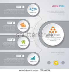 Vector Infographic design white circles with world map on the grey background. Eps 10. Can be used for diagram, banner, number options, workflow layout, step up options or web design.