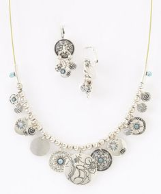 Look what I found on #zulily! Silver & Blue Floral Coin Necklace & Drop Earrings #zulilyfinds