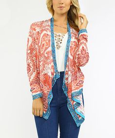 This Rust & White Paisley Cardigan is perfect! #zulilyfinds