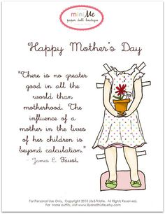 "A Mother's Day outfit.  Find your free ""Mabel"" doll to dress (under freebies) as well!"
