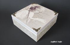 Decoupage Angel box Accessories box Jewelry box por Leafbirdcrafts