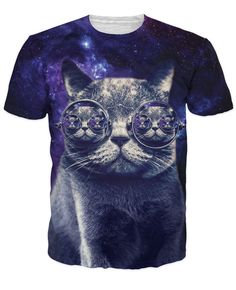 Hipster Cat T-Shirt whimsical kitty with steam punk glasses in dark purple galaxy print t-shirt mens/womens tees 3d t shirts tee