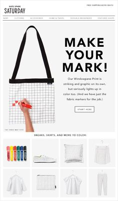 "Kate Spade Email Newsletter ""Make Your Mark! Marketing Poster, Email Marketing, Email Newsletter Design, Newsletter Ideas, E-mail Design, Graphic Design, Katie Evans, Direct Mailer, Email Design Inspiration"