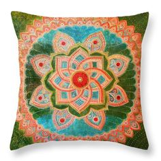 Mandala Throw Pillow featuring the painting Mandala by Agnieszka Szalabska