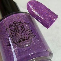 New! Prototype ~ medium purple jelly with gold flakies and glitter Indie Nail Polish by MDJ Creations by MDJCreations on Etsy