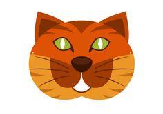 Modèle de masque de chat rouquin pour le Carnaval Imprimer ce modèle de masque…