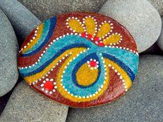 Moroccan Spice / Painted Rock / Sandi Pike Foundas / Cape Cod Sea Stone via Etsy