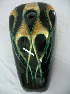 Green-Gold-Leaf-Flames Chopper Motorcycle, Moto Bike, Motorcycle Art, Custom Motorcycle Paint Jobs, Custom Bikes, Harley Race, Gold Leaf Art, Custom Airbrushing, Cafe Racing