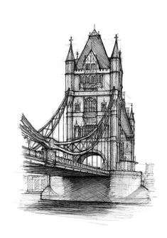 Hand drawing of Tower Bridge, by Luke Adam Hawker. Limited edition Giclée print of signed by the artist. Mounted size - x Pencil Sketches Architecture, Landscape Pencil Drawings, Architecture Drawing Sketchbooks, Architecture Drawing Art, Architecture Concept Drawings, Drawings Of Buildings, Lego Architecture, London Sketch, London Drawing