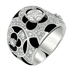 Midnight Ring from CafeSociety - Chanel - FineJewelry collection in 18K white gold set with 121 BrilliantCut - Diamonds (2.2 cts), 1 #BaguetteCut diamond and carved onyx - July 2014